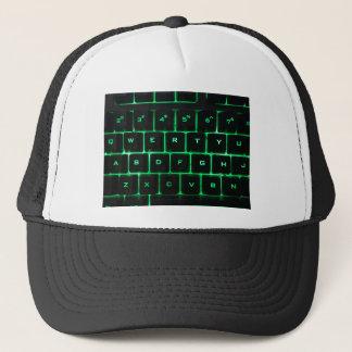 Green glow QWERTY computer keyboard keys Trucker Hat