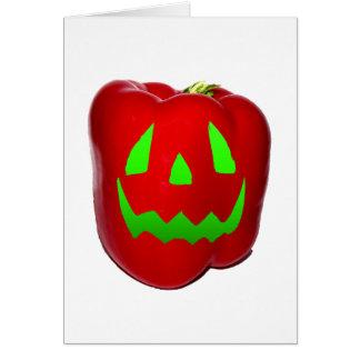 Green Glow Red Bell Peppolantern Card