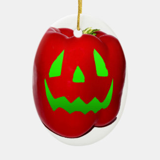 Green Glow Red Bell Peppolantern Double-Sided Oval Ceramic Christmas Ornament