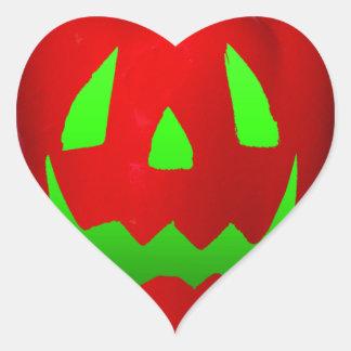 Green Glow Red Bell Peppolantern Heart Sticker