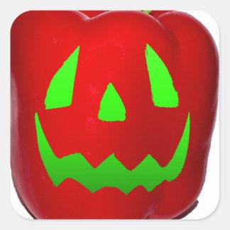 Green Glow Red Bell Peppolantern Square Sticker