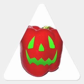 Green Glow Red Bell Peppolantern Triangle Sticker