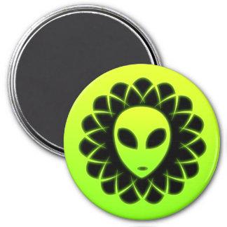 Green Glow Space Alien Head Fridge Magnets