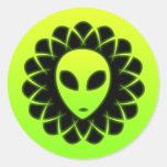 Green Glow Space Alien Head Stickers