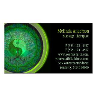 Green Glow Yin Yang Tree of Life Business Card