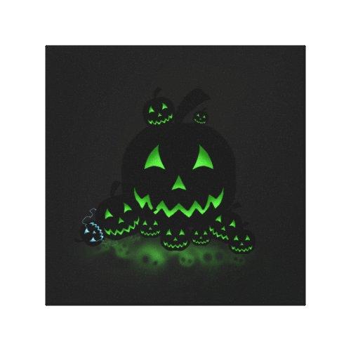 Green Glowing Black Halloween Jack O Lanterns Canvas Print