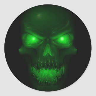 Green Glowing Skull Classic Round Sticker