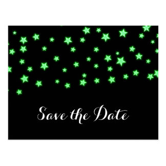 Green Glowing Stars Birthday Party Save the Date Postcard