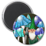 Green Gnome in Blue Mushrooms Magnet