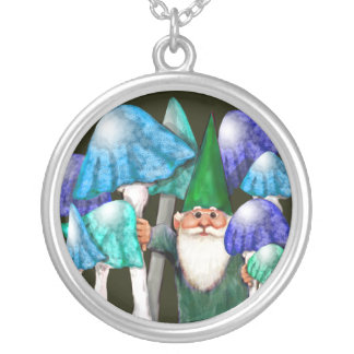 Green Gnome in Blue Mushrooms Necklace