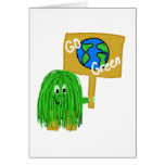 Green go green planet greeting cards