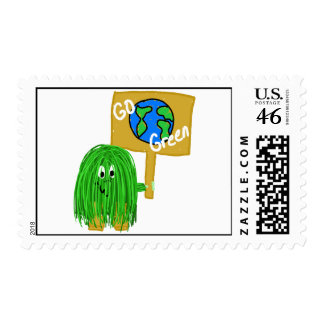 Green go green planet stamp