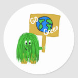 Green go green planet round stickers
