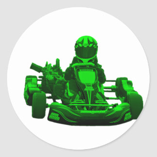 Green Go Kart Racer Classic Round Sticker