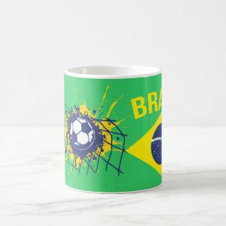 Green goal Brasil football soccer mug red
