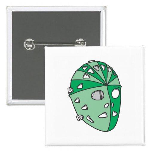 Green Goalie Mask Pinback Button