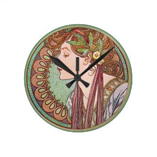 Green Goddess Art Round Wallclocks