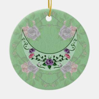 Green Goddess Upright Crescent Ceramic Ornament
