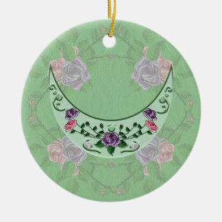 Green Goddess Upright Crescent Double-Sided Ceramic Round Christmas Ornament