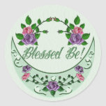 Green Goddess Upright Crescent Round Stickers