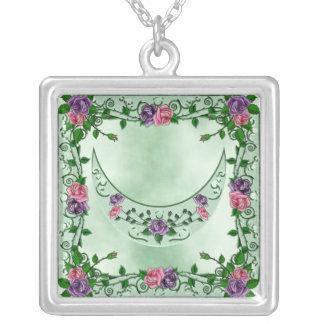 Green Goddess Upright Crescent Square Pendant Necklace