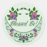 Green Goddess Upright Crescent Classic Round Sticker