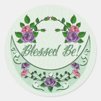 Green Goddess Upright Crescent Round Stickers
