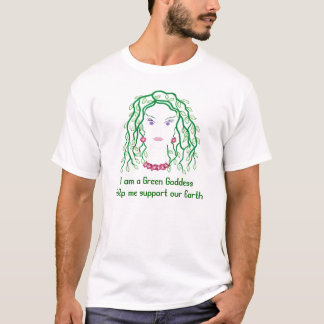 Green Goddess with vines for hair. garden shirt