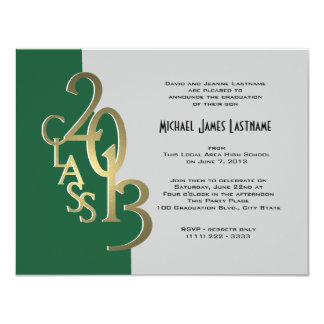 Green Gold 2013 Graduation Invitation