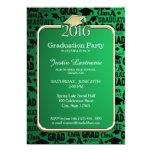 Green Gold 2016 Graduation Cap and Text Design Card