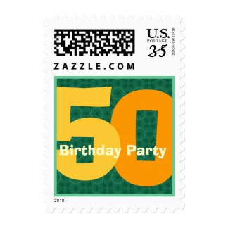 Green Gold 50th Birthday Party Big Numbers V002 Postage