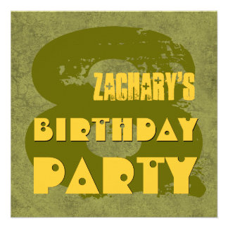 GREEN GOLD 8th Birthday Party 8 Year Old V11D1 Invite