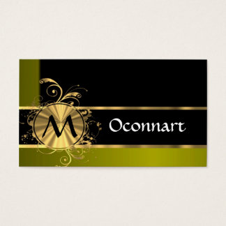 Green gold and black business card