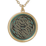 Green Gold and Black Celtic Knot Necklace