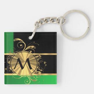 Green gold and black monogram keychain