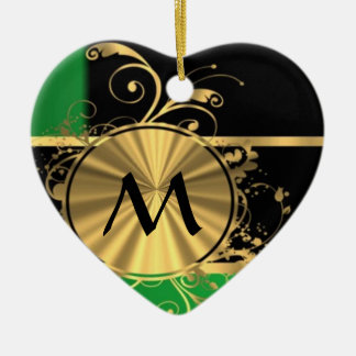 Green gold and black monogram Double-Sided heart ceramic christmas ornament