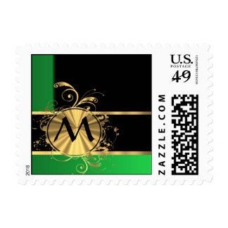 Green gold and black monogram postage