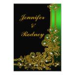 Green Gold and Black RSVP Wedding Invitation
