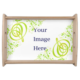 Green-Gold And-mark and Leaves Serving Tray Natura