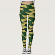 Green Gold and Navy Geometric Patterned Leggings
