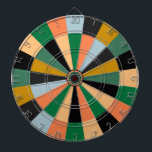 "Green Gold and Orange Game Room Colors Dartboard<br><div class=""desc"">Brightly colored dartboard for classic game room</div>"