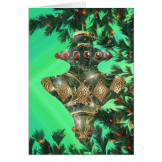 Green Gold and Red Glass Bulb Card