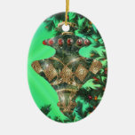Green Gold and Red Glass Bulb Double-Sided Oval Ceramic Christmas Ornament