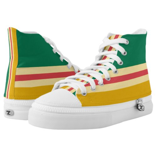 Green Gold and Red-Striped Hi-Top