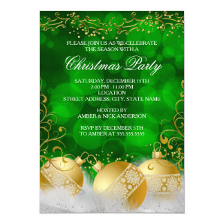 Green Gold Baubles White Christmas Holiday Party Card