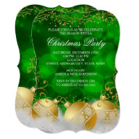Green Gold Baubles White Christmas Holiday Party Invitation