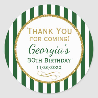 Green Gold Birthday Thank You Coming Favor Tags