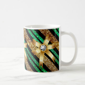 Green Gold & Black Faux Glitter Gold Diamond Bows Coffee Mug