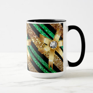 Green Gold & Black Faux Glitter Gold Diamond Bows Mug