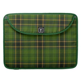 Green Gold Black Tartan Plaid Large Pattern Sleeve For MacBooks